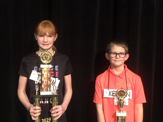 Werntz and Conley - Citywide Spelling Bee Champion and Runner-Up 2019