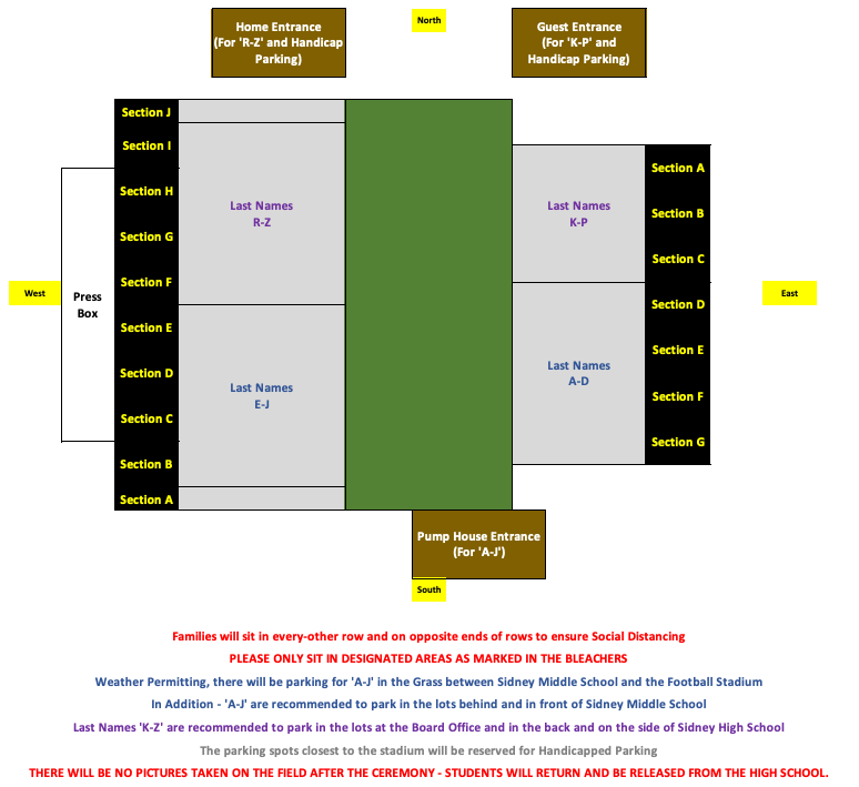 Graduation Day Map - to adhere to social distancing guidelines, please use this reference for where to sit.